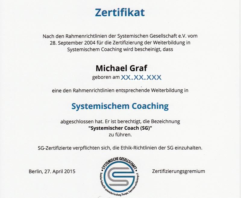 Zertifikat Systemischer Coach (SG)
